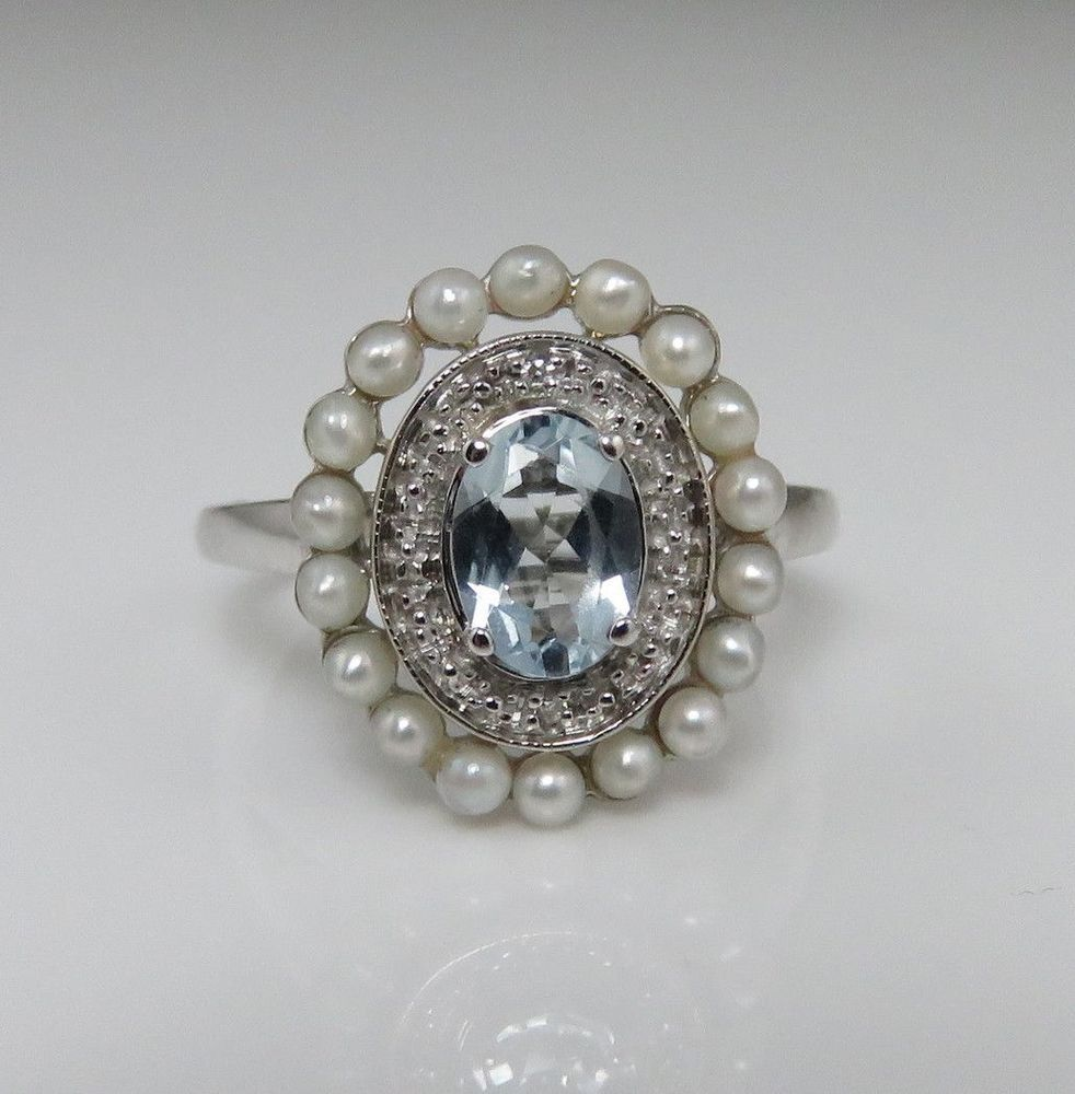 Vintage 10k White Gold Aquamarine Pearl Diamond Ring