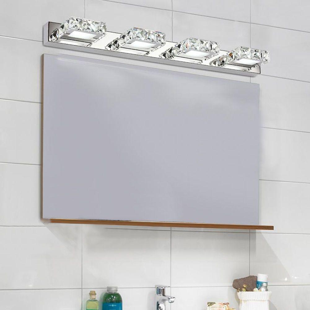 Modern bathroom led #crystal mirror make-up #lights toilet ...