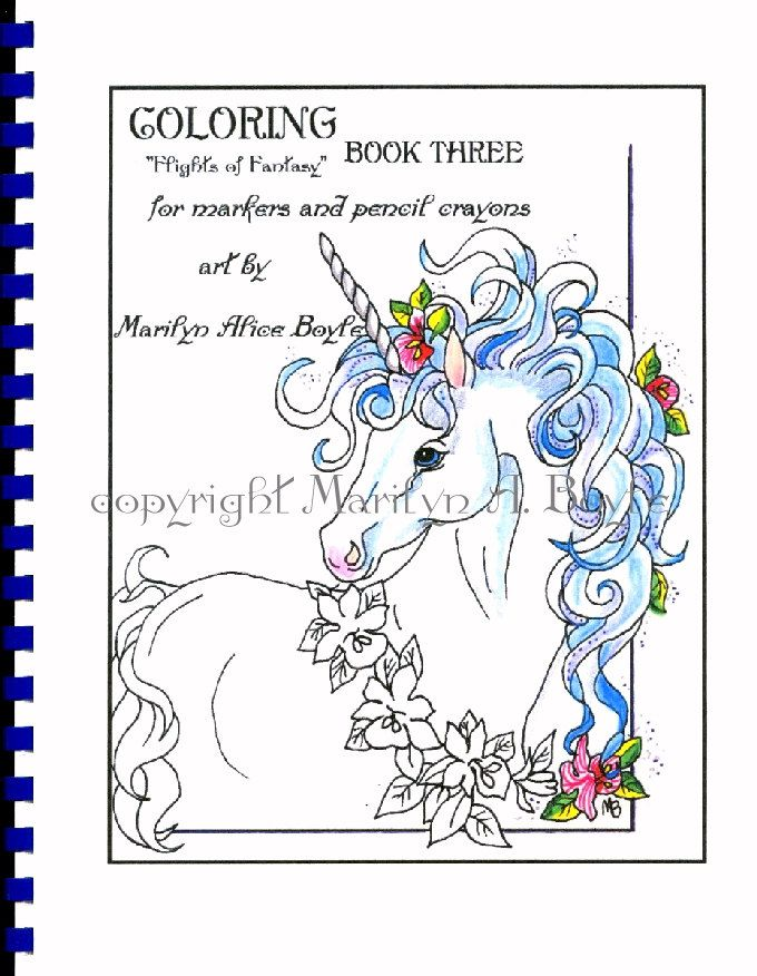 ADULT COLORING BOOK 10 Pages Fantasy For Markers Inks