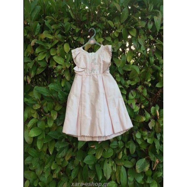 ad3e7400887d Βαπτιστικό φόρεμα Makis Tselios σε απαλή ροζ απόχρωση οικονομικό-προσφορά