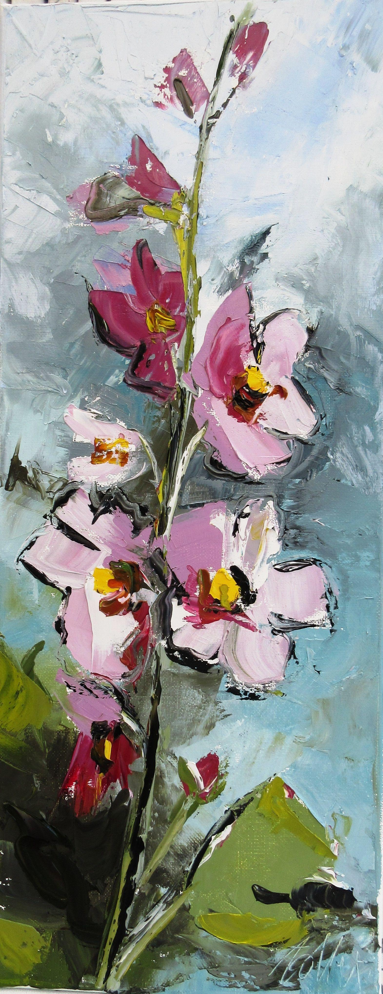 Les Roses Tremieres 20 50 Cm Huile Sur Toile Peinture Fleurs