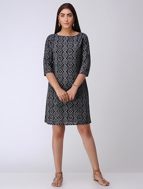 Black Block-printed Cambric Dress with Back Slit