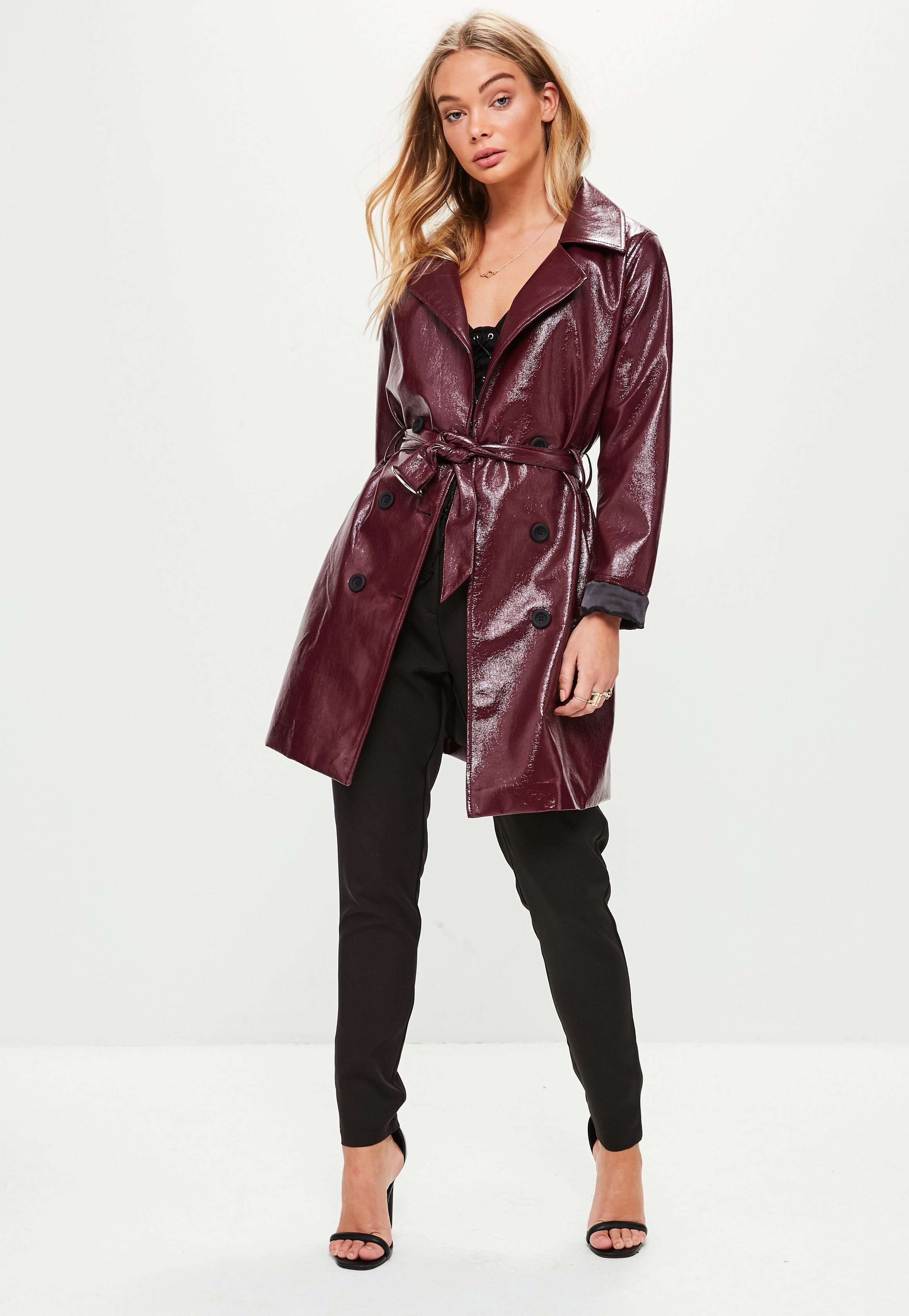 7dc0edb39 Burgundy Vinyl Trench   Missguided   Outerwear   Coat, Jackets ...