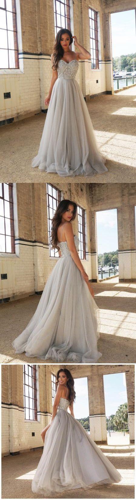 Chic Silber Abiballkleider/Abendkleider Spaghettiträger A-Linie lange Abendkleider JKL296 #eveningdresses