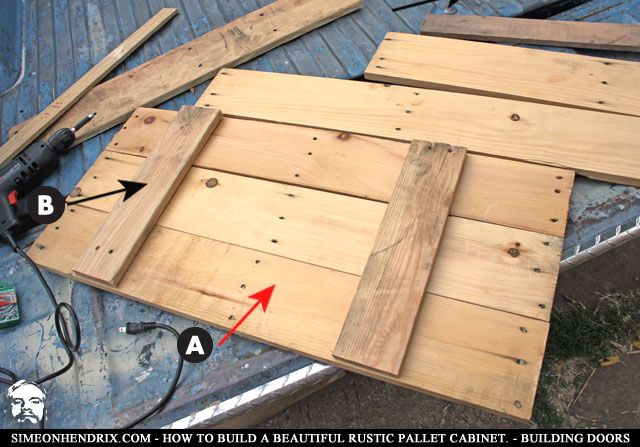 rustic cabinet doors. How To Build A Beautiful Rustic Pallet Cabinet - Construction. By SimeonHendrix.com Doors