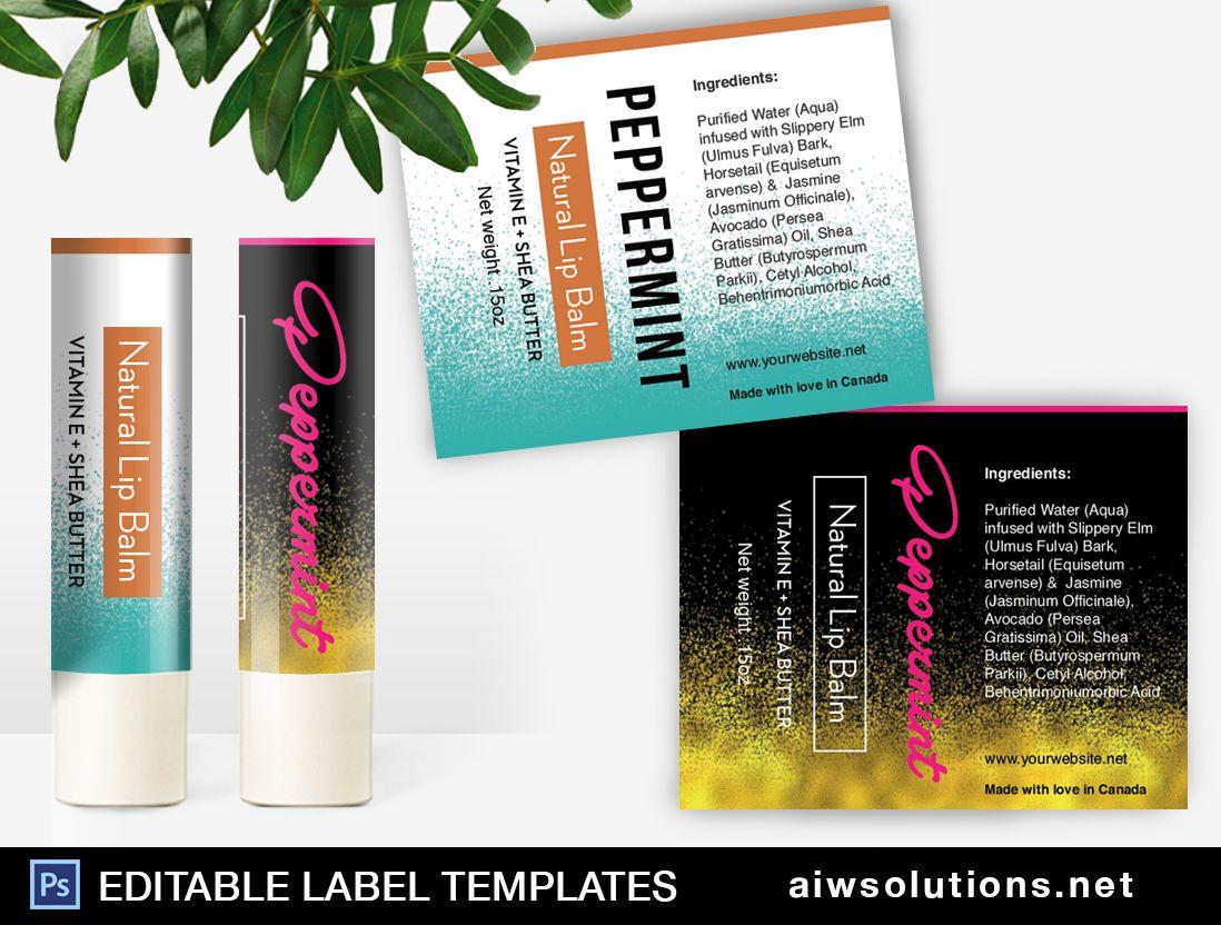 Lip Balm Tube Label Template ID Label Templates Cosmetic Labels - Lip balm label template