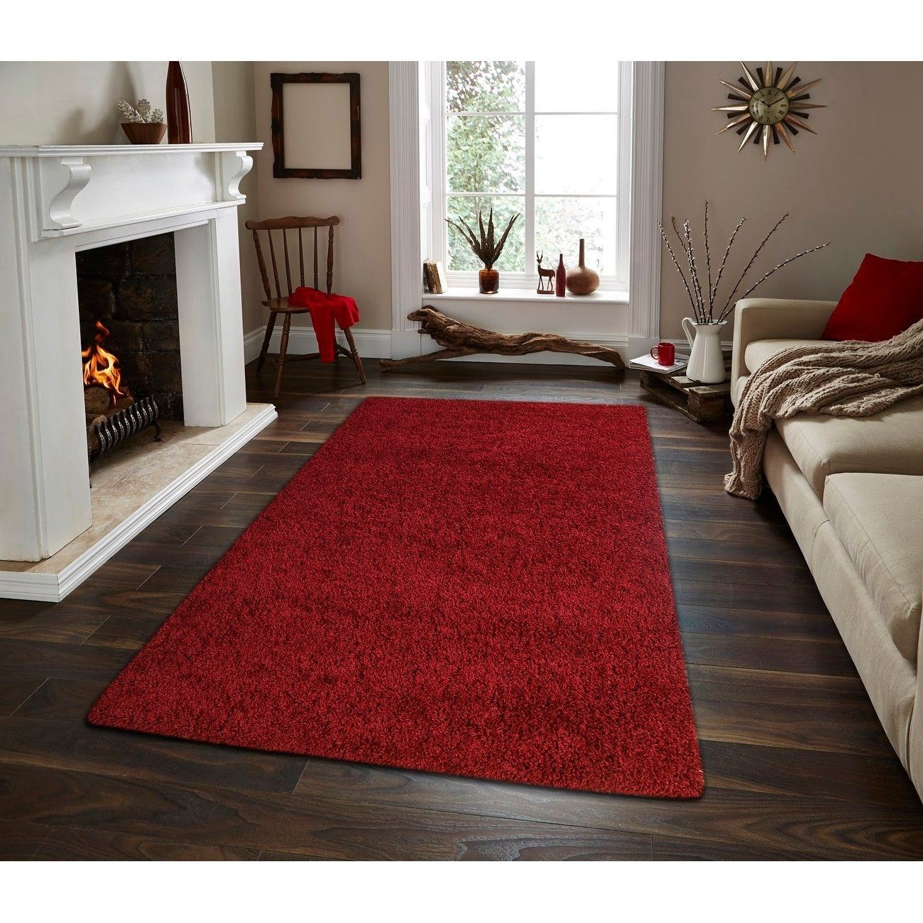 Moon Solid Shag Modern Plush Colors And Sizes Red 5 X 7 5 X 7 Red 5 X 8 Area Rugs Rugs In Living Room Rugs