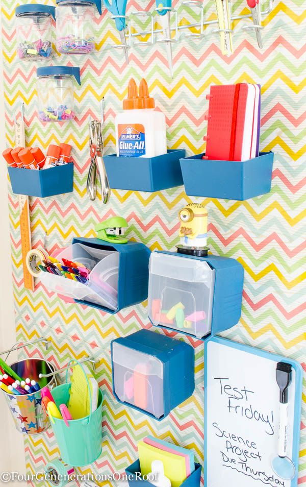 Our Back to School Pegboard Organizational Wall Kids