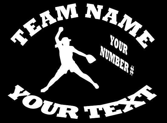 Custom Girls Softball team name number Vinyl Car Decal window bumper sticker
