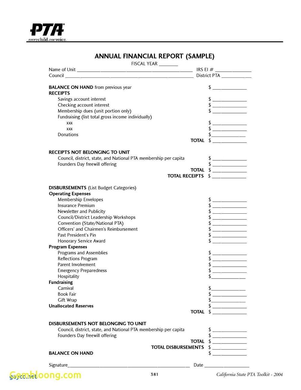 Template Ideas Treasurer Report Non Profit Impressive Free
