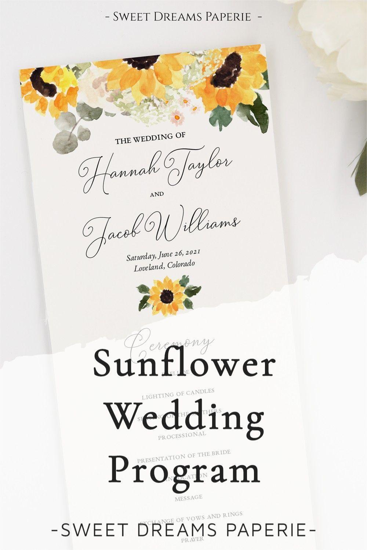 Rustic wedding program template Country ceremony Sunflower program printable Floral ceremony program card download Botanical wedding 1W132