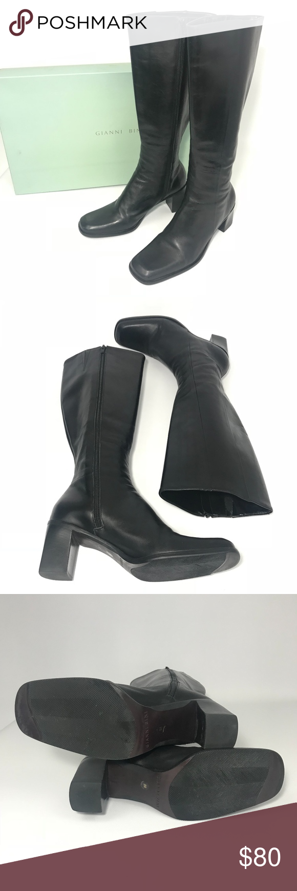 Gianni Bini Black Leather Knee High Fashion Boot   Fashion ...