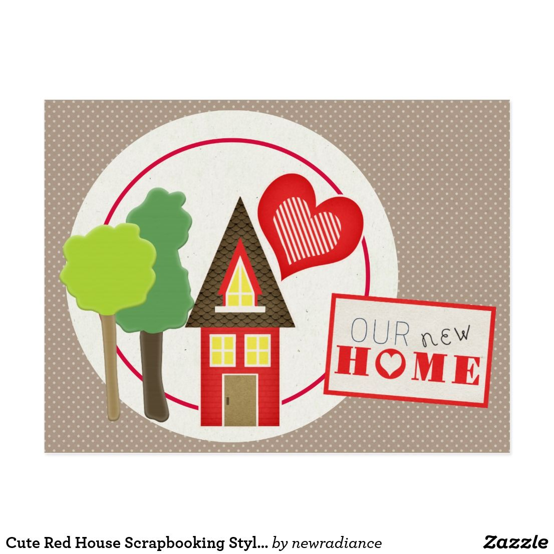 Cute red house scrapbooking style address change