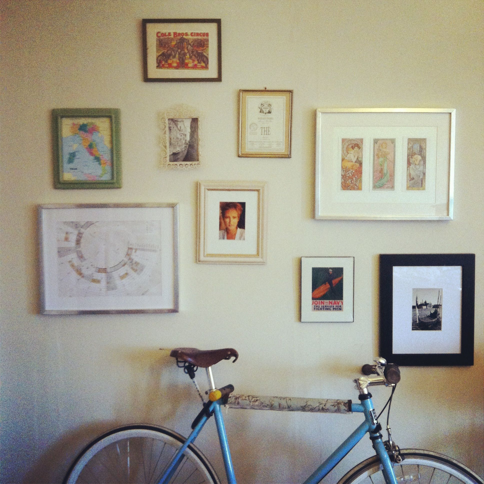 Gallery wall. Got all the frames from goodwill for under $20.