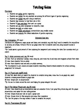 Genetic Engineering Project Lesson Plan With Teaching Notes Student Handouts And Grading Rubric