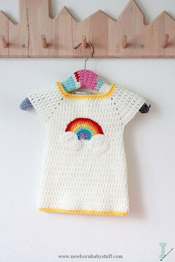 Crochet Baby Dress Crochet baby dress - Rainbow and clouds | Crochet ...