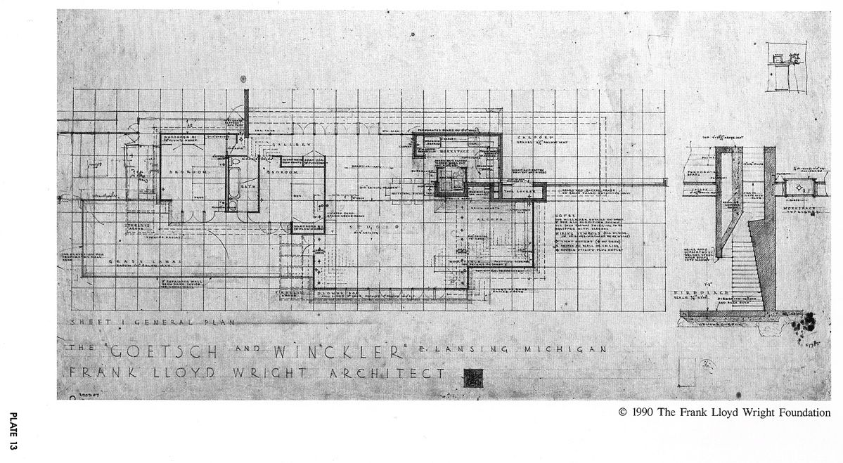 Plan. Goetsch-Winckler House. Okemos, Michagan. 1940 ... on frank lloyd wright plan, zimmerman house plan, pope-leighey house plan,