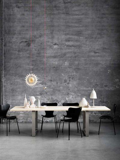 Gray contemporary dining area