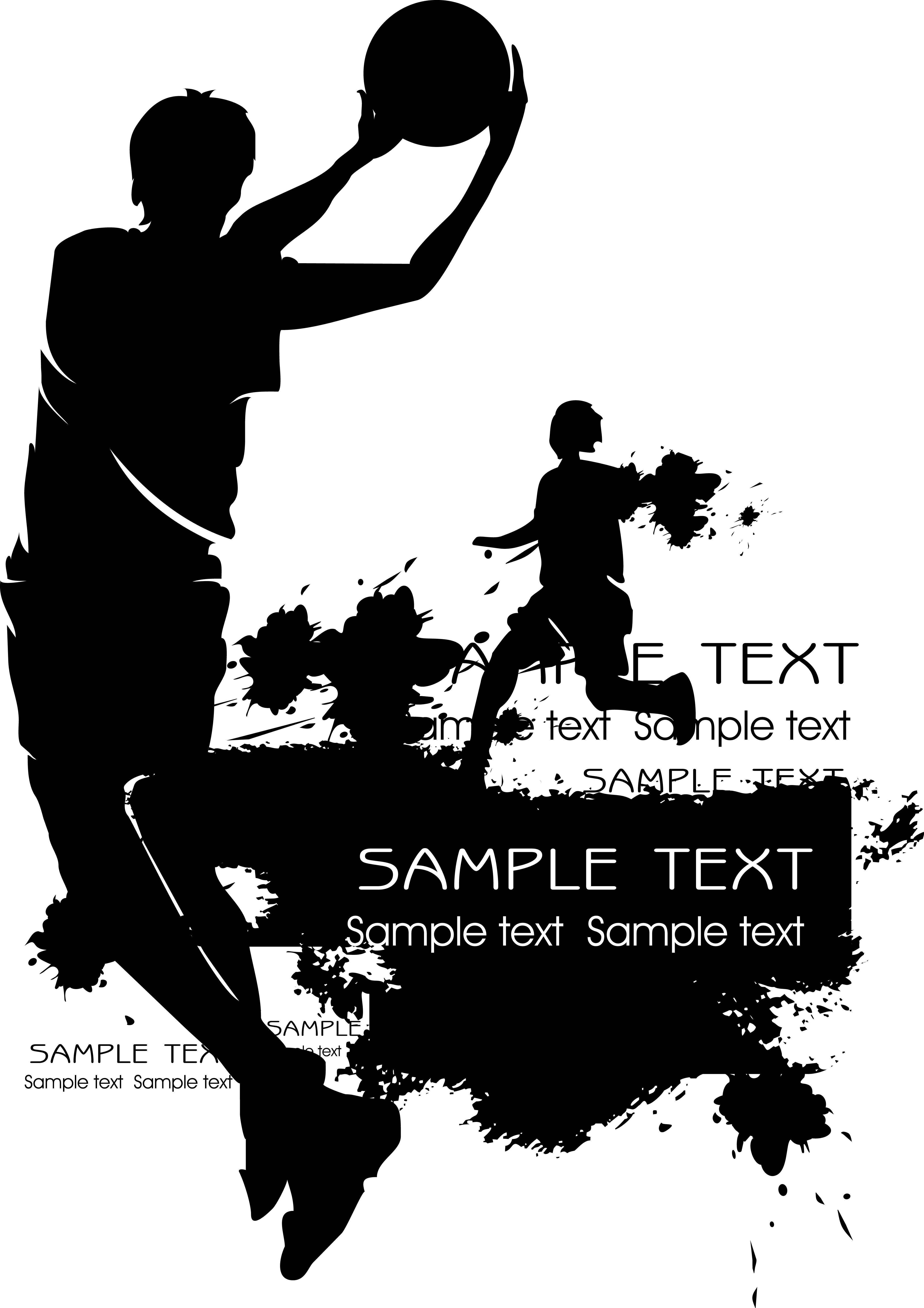Basketball silhouette character vector Free Vector