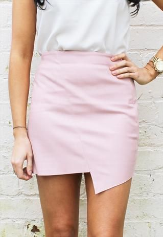 f638f4d76402d7 Faux Leather Asymmetric Edge Skirt In Dusky Baby Pink PU PVC | Style ...