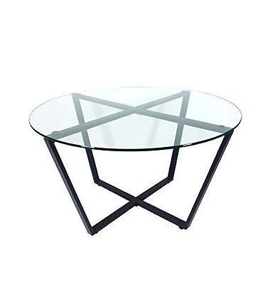 Steam Metro Glass Coffee Table Clear Top Black Base Solid Decor New Free Ship