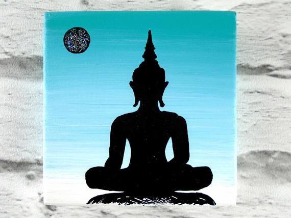 Turquoise buddha painting (small) - Buddha silhouette - Gift for Buddhist - Small Buddha wall decor #buddhadecor