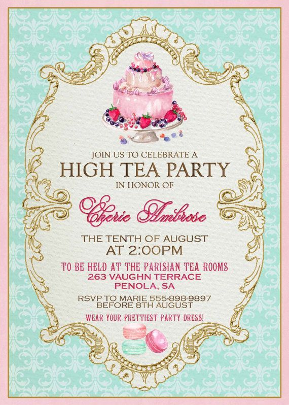 High tea invitation template invitation templates j9tztmxz for Tea party menu template