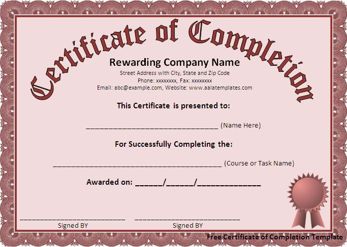 Free Certificate Of Completion Template Free Formats Excel Certificate Of Completion Template Free Certificate Templates Certificate Of Achievement Template