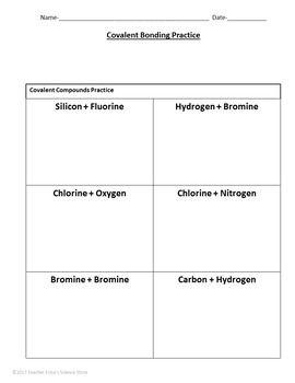 covalent bonding practice worksheet science worksheets teaching science bond. Black Bedroom Furniture Sets. Home Design Ideas
