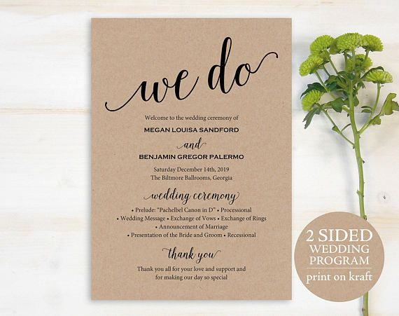 Wedding Program Template Rustic Wedding by MarryMePaperBoutique