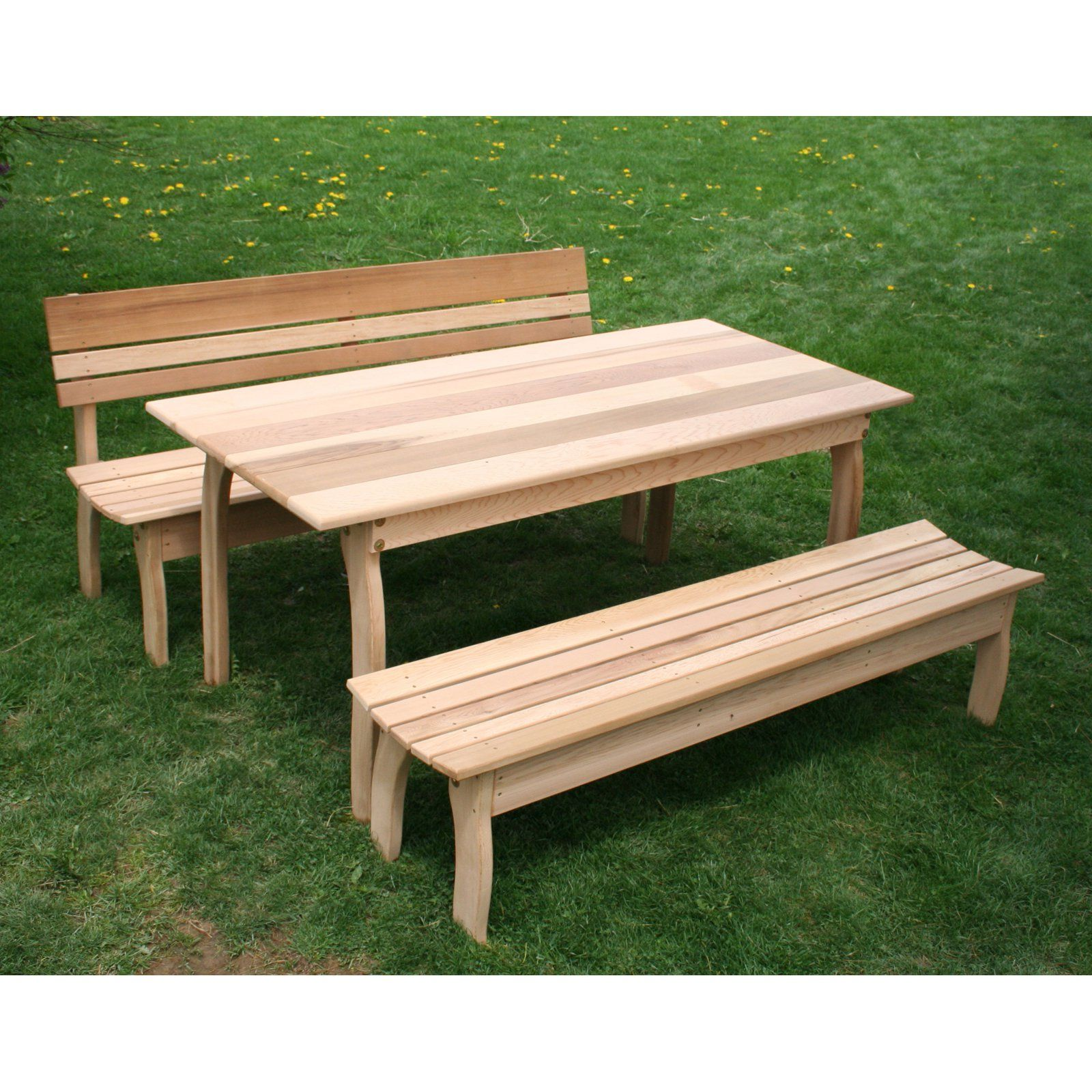 Outdoor Creekvine Designs Odd Couple Cedar Picnic Table Set Patio Furniture Sets Dining Set Picnic Table