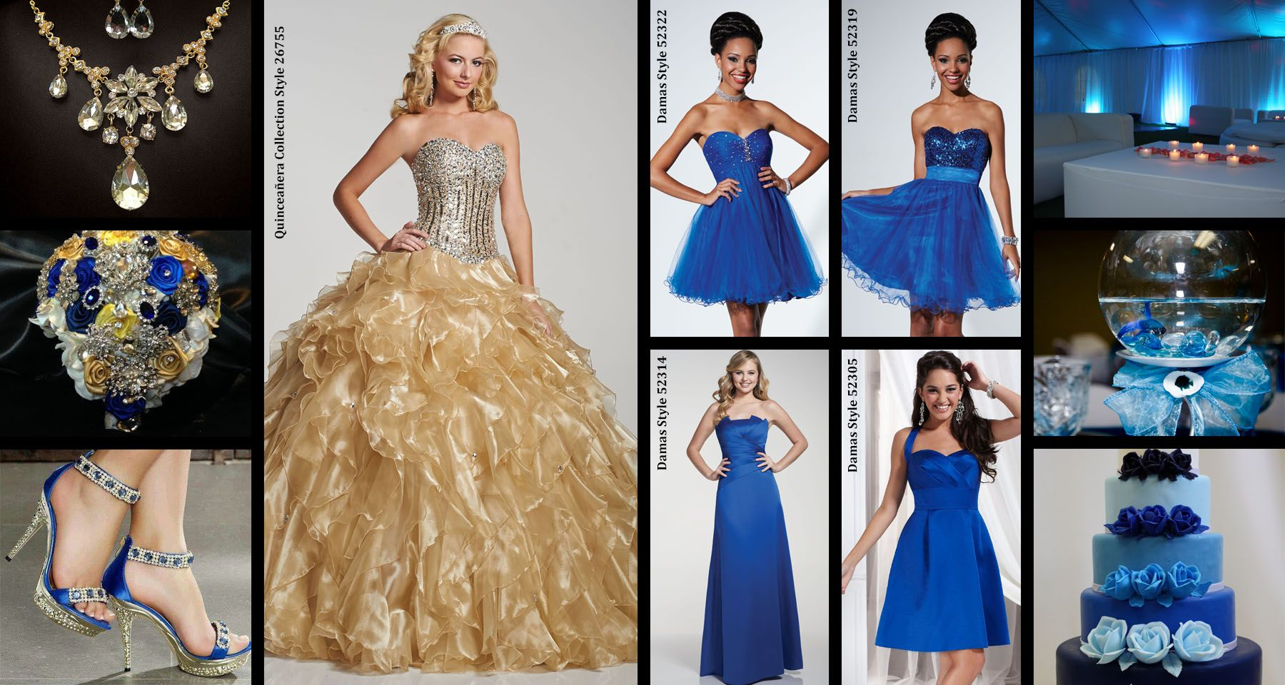 Looking for fun ways to tie in your colors? Choose a bright hue for your Damas and then use your accessories to compliment them. #quince #quinceanera #damas