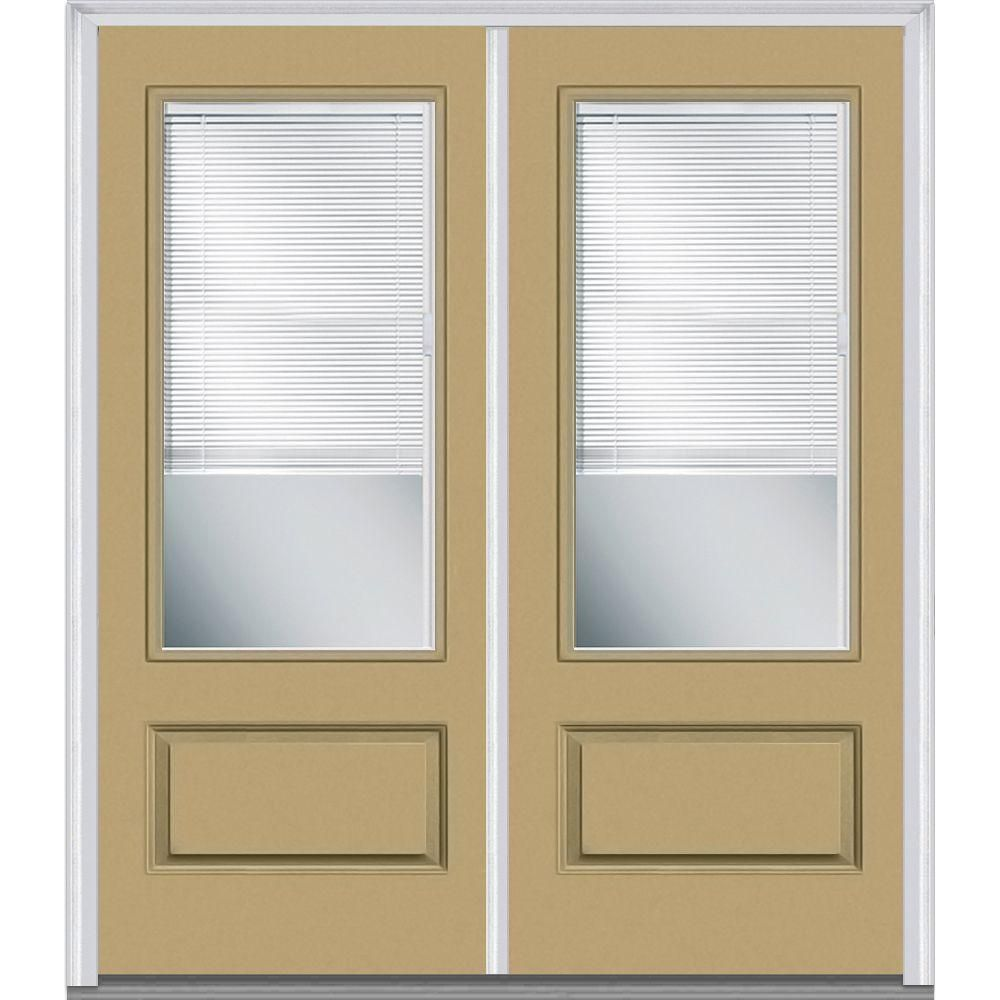 Milliken Millwork 72 in. x 80 in. Classic Clear RLB 3/4 Lite 1-Panel Painted Fiberglass Smooth Double Prehung Front Door,