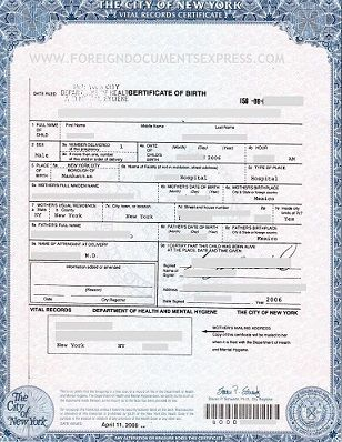 Long form birth certificate issued by the NYC Department of Health ...