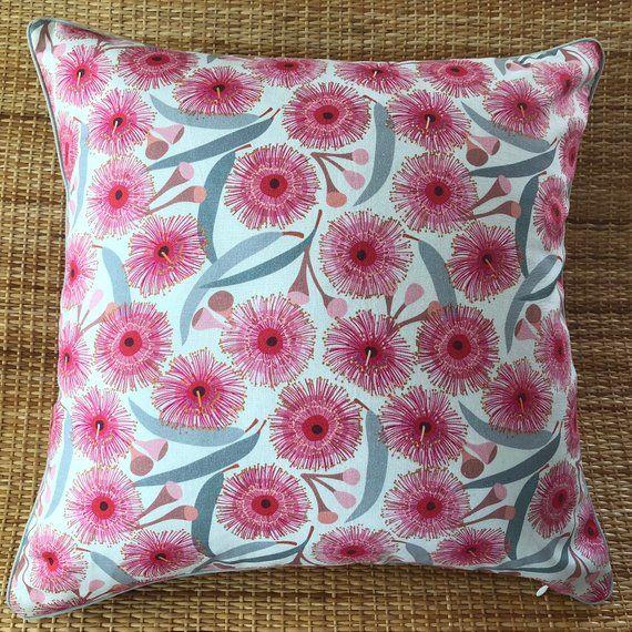 flowering gum piped cushion cover, Australian native