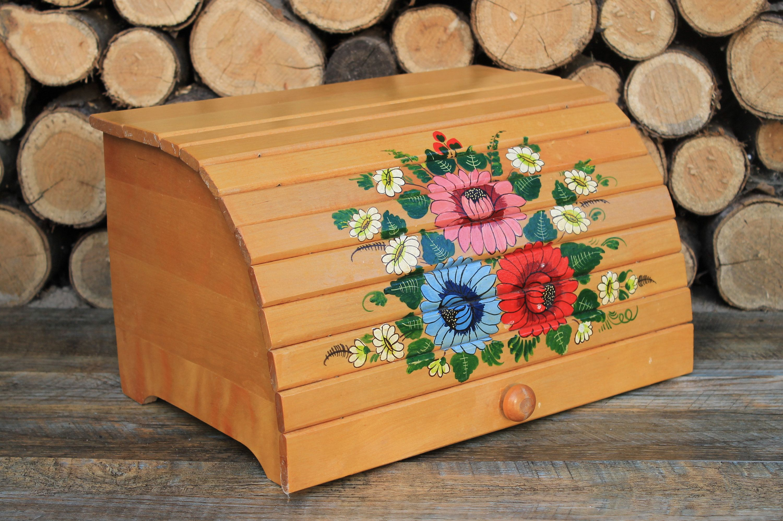 Vintage bread box, wooden bread box, rustic bread box for
