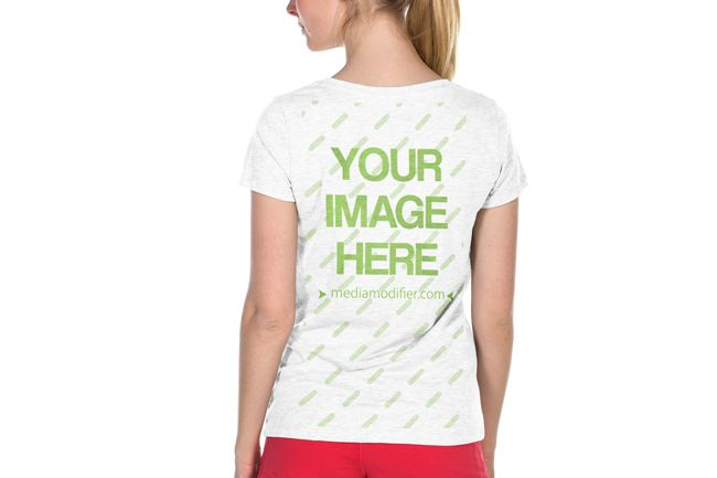 Download Back View Of A Female Model Wearing A Blank T Shirt Upload Your Own Artwork To The Shirt And Customize The Shirt Colo T Shirts For Women Clothing Mockup Women
