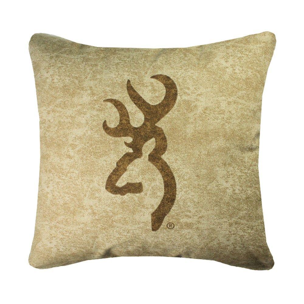 Browning Buckmark Tan Logo Pillow Tan throw pillow