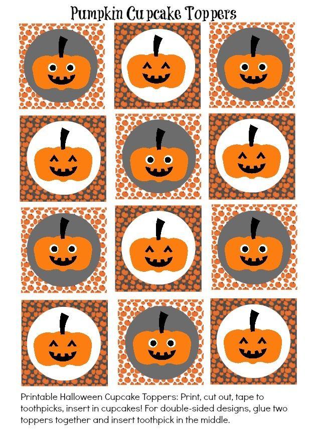 free cute halloween pumpkin cupcake toppers
