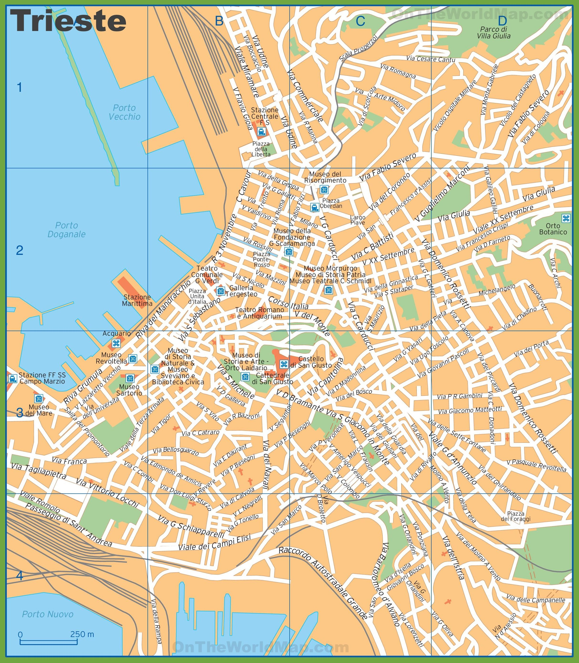 Tourist map of Trieste city centre Italy Trip Pinterest