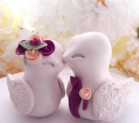 Love Birds Wedding Cake Topper Beige Sangria and by LavaGifts