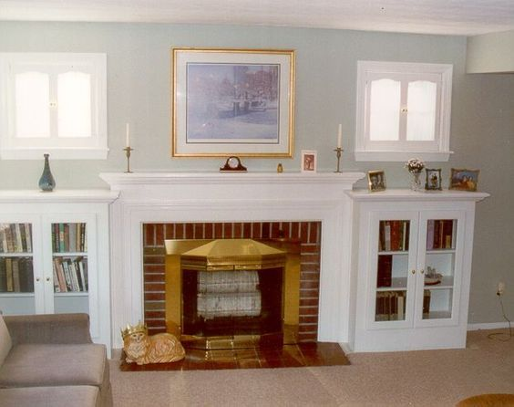 Image result for built in shelves around fireplace