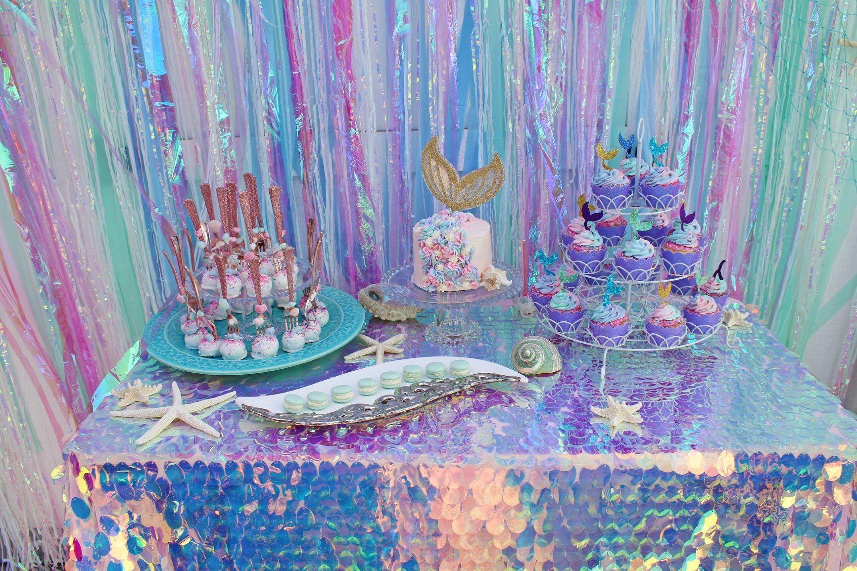 Unicorn Mermaid Birthday Party Iridescent Pink Party Table Confetti
