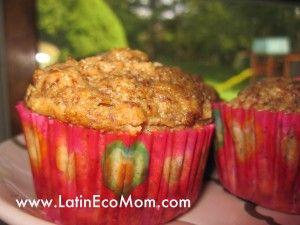 Una receta saludable de magdalenas (muffins) con poca azucar, casi nada de grasa, y hecho con arina de granos germinados.