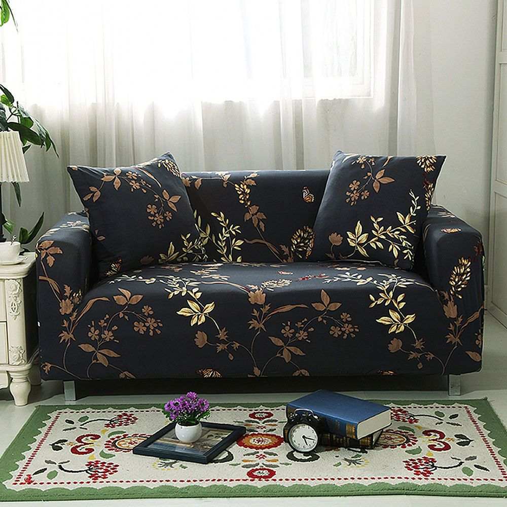 $5.99 AUD - Gold Leaf Black Stretch Sofa Slipcover Couch ...