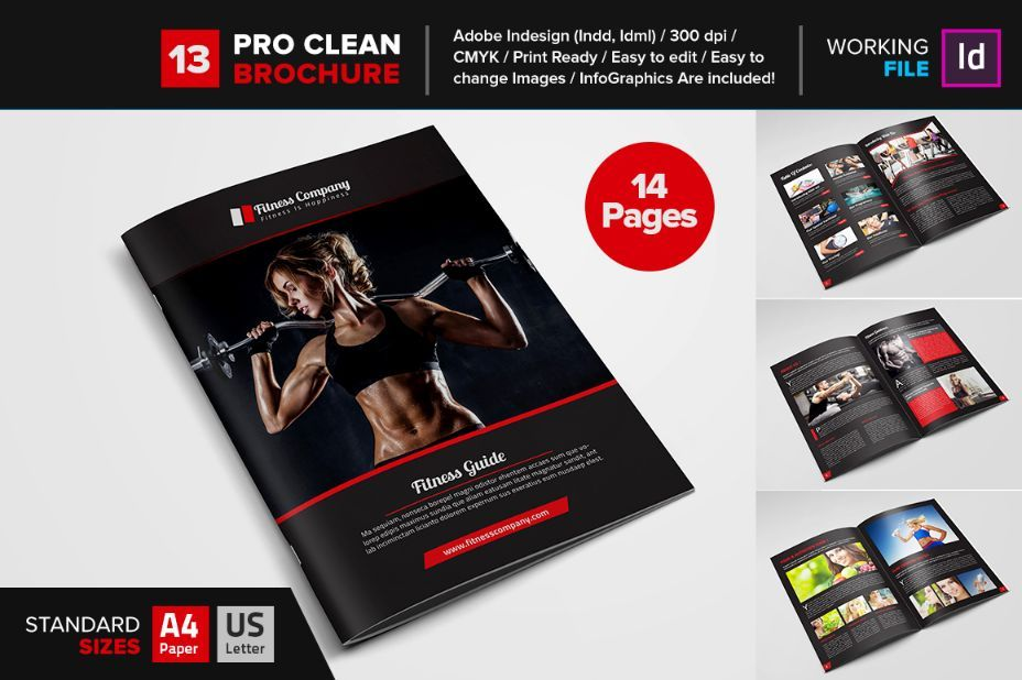 CleanFitnessBrochureTemplateIndesign   Fitness Brochure