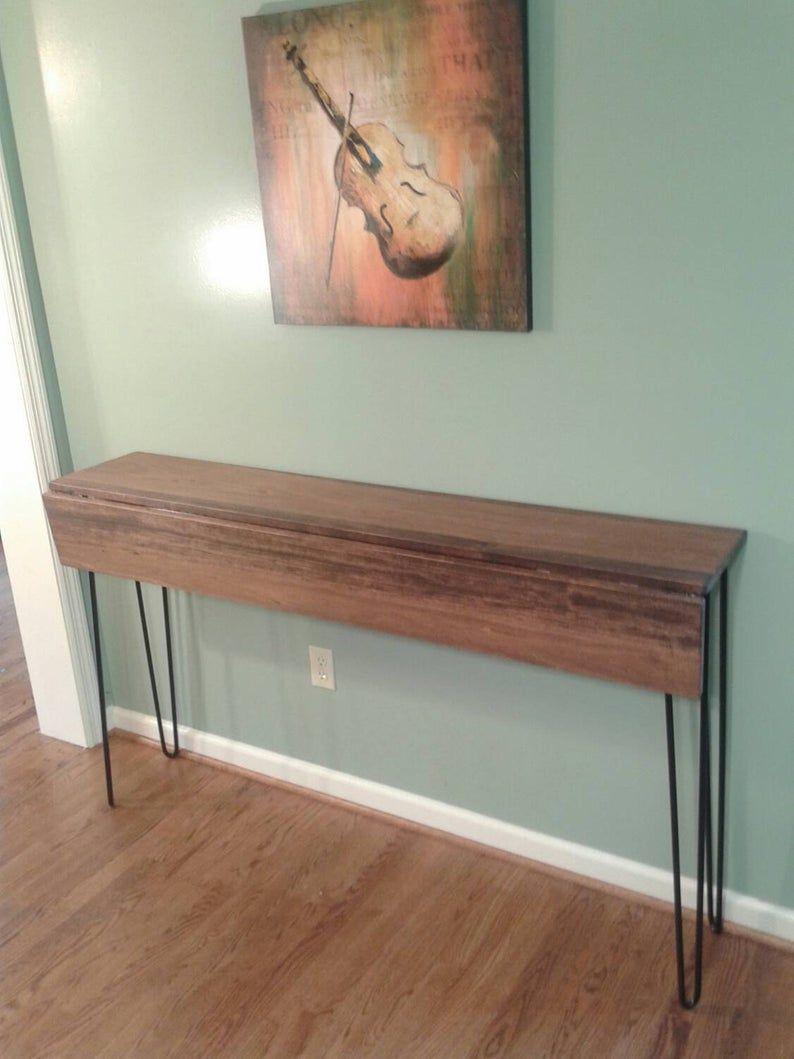 Beautiful honey brown poplar console drop down table sofa