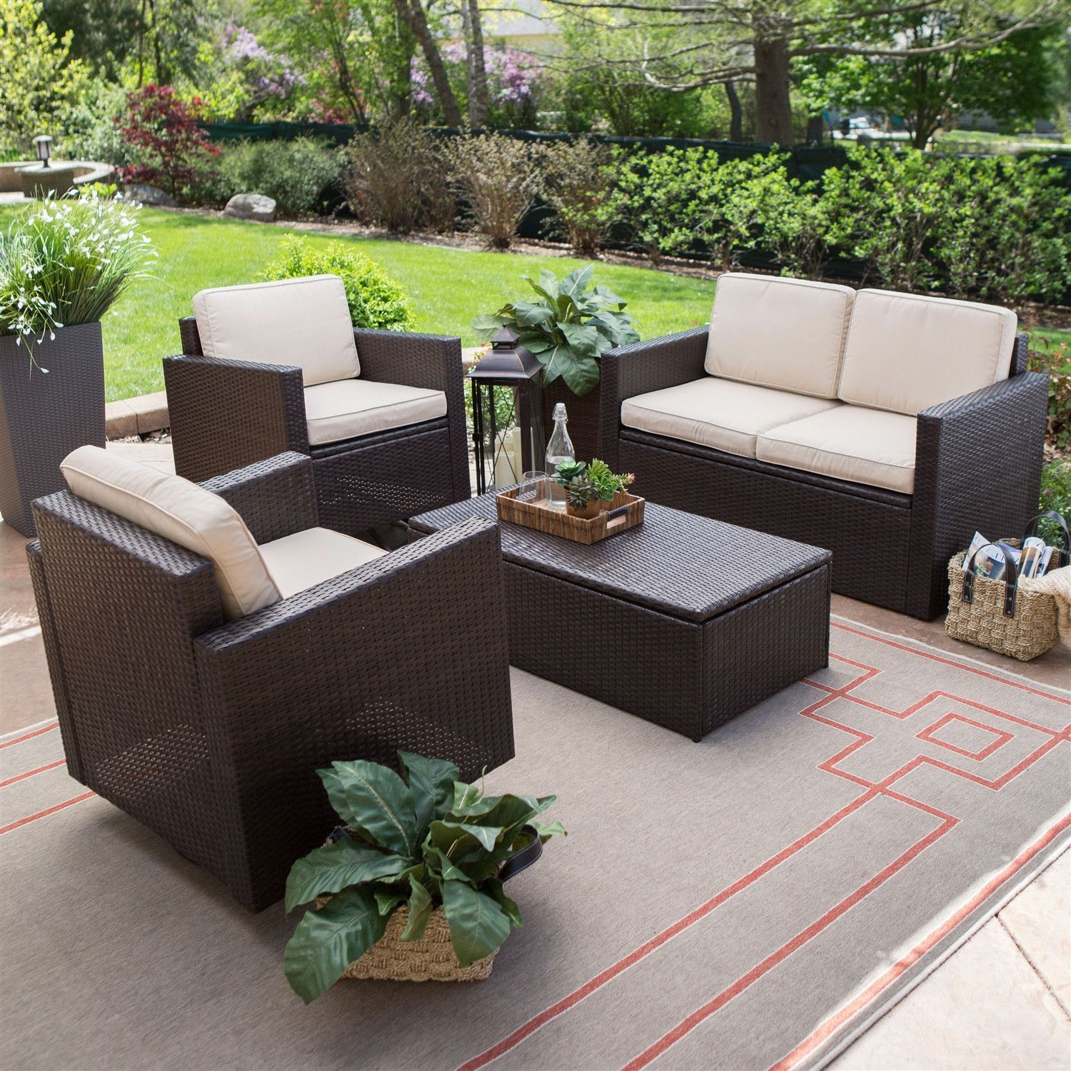 Ecklounge Rattan Outdoor Wicker Resin 4 Piece Patio Furniture Dinning Set With 2