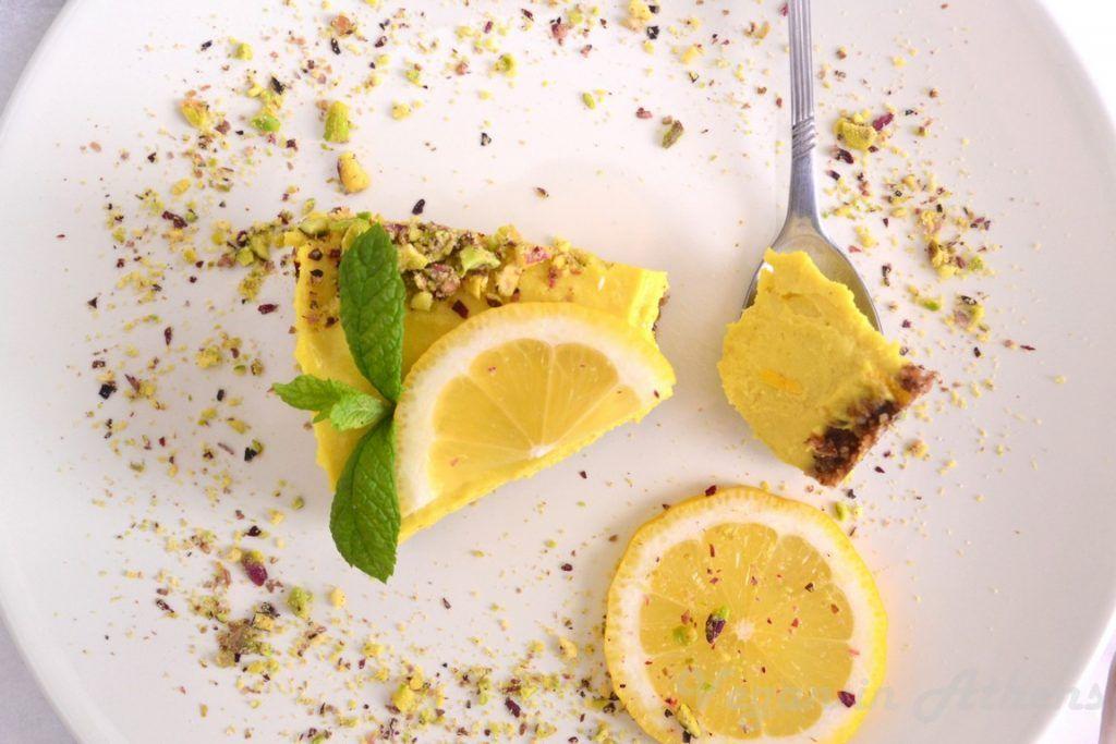 Raw vegan lemon pie - Ωμοφαγική λεμονόπιτα - Vegan in Athens