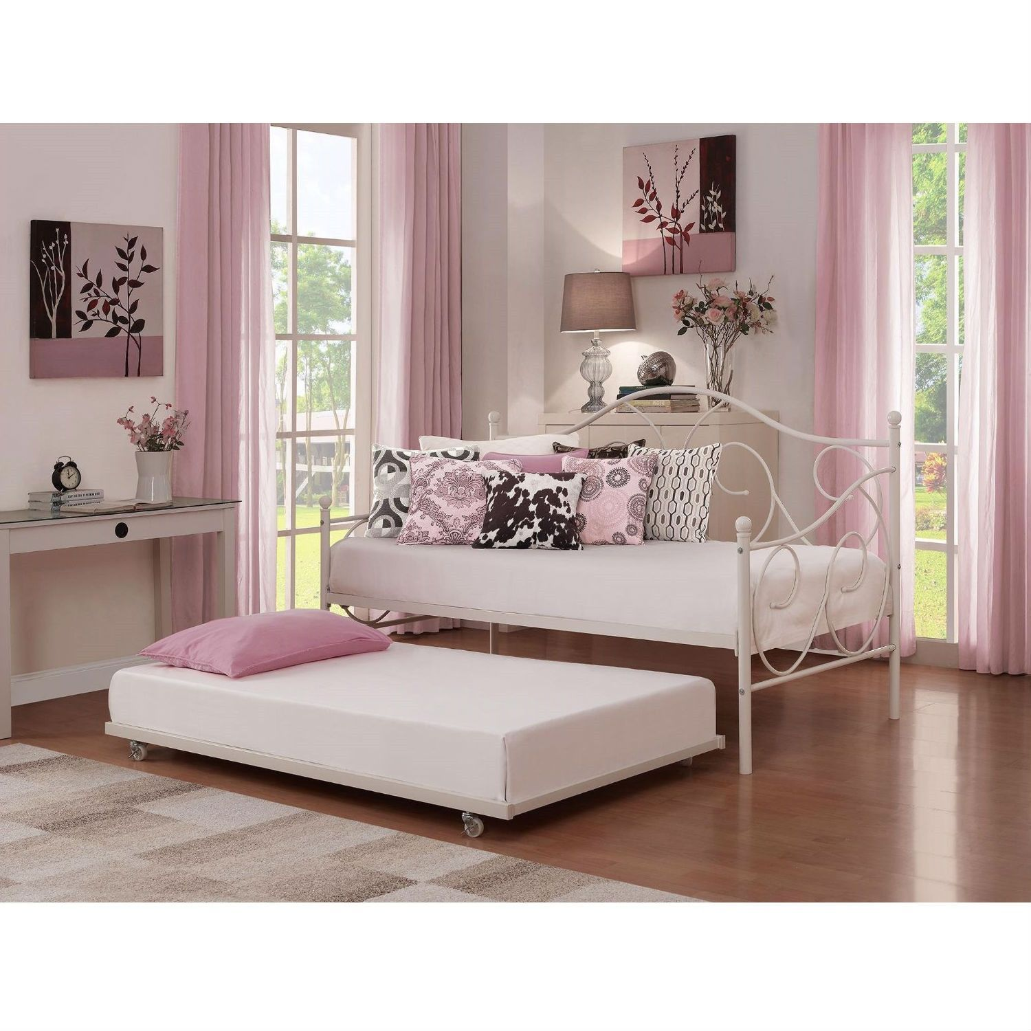 Twin Size White Metal Trundle Bed With Casters Wheels For Under
